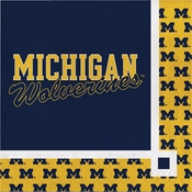 Blue and yellow University of Michigan Beverage Napkin sold in quantities of 20 / pkg, 12 pkg / case