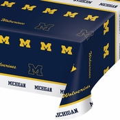 Blue and yellow University of Michigan Tablecloths sold in quantities of 1 / pkg, 12 pkg / case