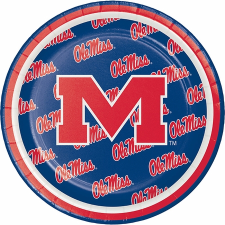 Crimson and blue Ole Miss Dessert Plate in quantities of 8 per pkg / 12 pkgs per case