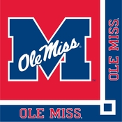 Crimson and blue Ole Miss Beverage Napkin in quantities of 20 per pkg / 12 pkgs per case