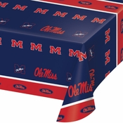 Crimson and blue Ole Miss Tablecloths in quantities of 1 per pkg / 12 pkgs per case