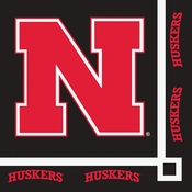 Red and black University of Nebraska Beverage Napkin sold in quantities of 20 / pkg, 12 pkgs / case