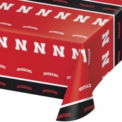 Red and black University of Nebraska Tablecloths sold in quantities of 1 / pkg, 12 pkgs / case