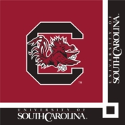 Black and red University of South Carolina Beverage Napkin sold in quantities of 20 / pkg, 12 pkg / case