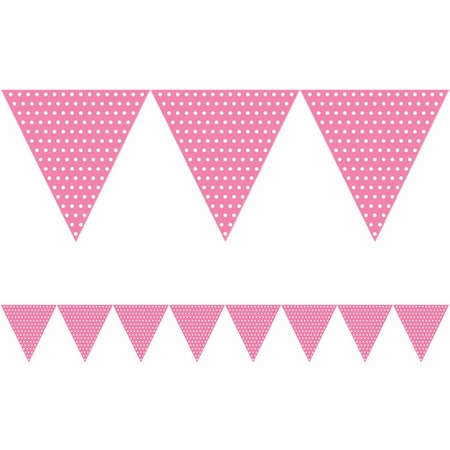 Candy Pink Polka Dots Paper Flag Banners sold in quantities of 1 / pkg, 6 pkgs / case