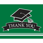 Graduation School Spirit Green Thank You Notes 75 ct
