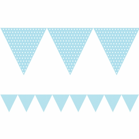 Light Blue Polka Dots Paper Flag Banners are sold in quantities of 1 / pkg, 6 pkgs / case