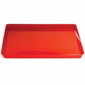 For contemporary styling at competetive prices, choose the Translucent Red TrendWare Square Tray 6 ct sold in quantities of 1 / pkg, 6 pkgs / case
