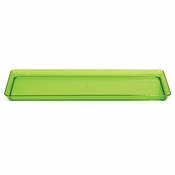 For sleek, modern, plastic serving ware for entertaining, choose the Translucent Green TrendWare Rectangular Tray sold in quantities of 1 / pkg, 6 pkgs / case