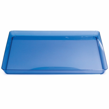For modern appeal at budget friendly price points choose the Translucent Blue TrendWare Square Tray sold in quantities of 1 / pkg, 6 pkgs / case