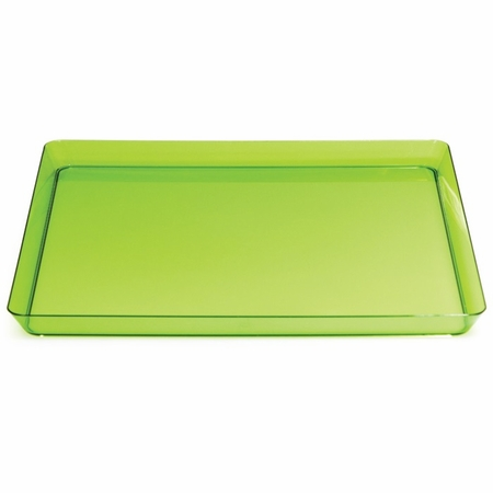 For sleek, modern, plastic serving ware for entertaining, choose the Translucent Green TrendWare Square Tray sold in quantities of 1 / pkg, 6 pkgs / case