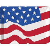 Patriotic Plastic Flag Tray 12 ct