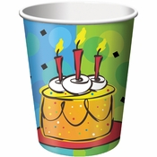 Orange, yellow, and blue Cake Celebration 9 oz Cups sold in quantities of  8 / pkg, 12 pkgs / case