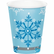 Snowflake Swirls 9 oz Paper Cups 96 ct