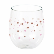 Rose All Day Polka Dots Plastic Stemless Wine Glasses 6 ct