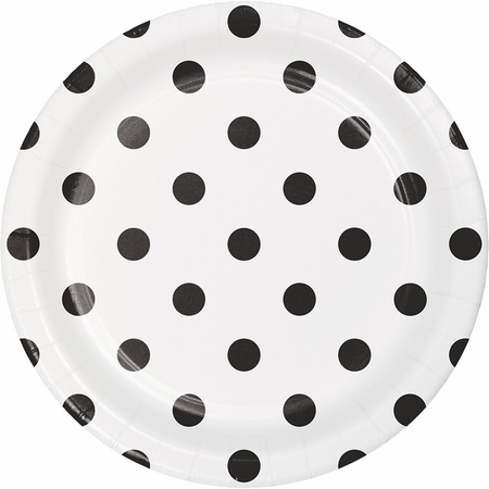 Black Polka Dots and Stripes Dessert Plates 96 ct
