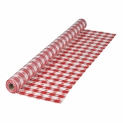 "Red Gingham 40"" x 300 Plastic Banquet Table Roll is sold in quantities of 1 / pkg, 1 pkg /case"