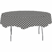 Black Check Octy Round Tablecloths 12 ct