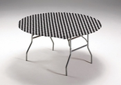 Black Check Stay Put Round Tablecloths sold in quantities of  1 / pkg, 12 pkgs / case