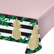 Golden Pineapple Plastic Tablecloths 6 ct