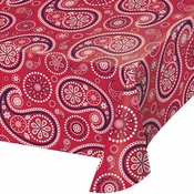Red Paisley Plastic Tablecloths 6 ct