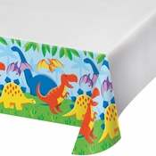 Friendly Dinosaur Plastic Tablecloths 12 ct