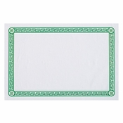 "White and Green 10"" x 14"" Greek Key Placemat with Greek print border in green ink in quantities of 1,000 / case. Flat pack."