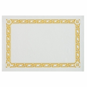 "White and Gold 10"" x 14"" Greek Key 100% Recycled Placemat consists of all recycled material in quantities of 1,000 / case. Flat pack."