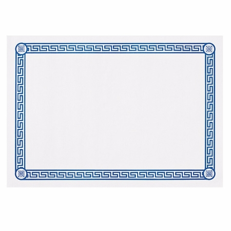 "White and Blue 10"" x 14"" Greek Key Placemat featuring a blue border in quanities of 1,000 / case. Flat pack."