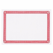 "White and Red 10"" x 14"" Greek Key Placemat with red Greek style print border in quantities of 1,000 / case. Flat pack."