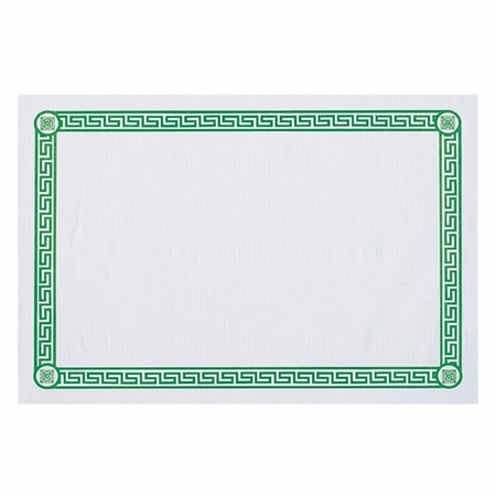 """White and Green 10"""" x 14"""" Greek Key Placemat with Greek print border in green ink in quantities of 1,000 / case. Flat pack."""