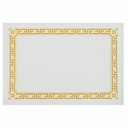 """White and Gold 10"""" x 14"""" Greek Key 100% Recycled Placemat consists of all recycled material in quantities of 1,000 / case. Flat pack."""