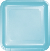 Touch of Color Pastel Blue Square Dinner Plates in quantities of 18 / pkg, 10 pkgs / case
