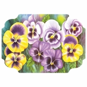 "Pruple and Yellow Pansies 9.75"" x 14"" Placemat in quantities of 1,000 / case"