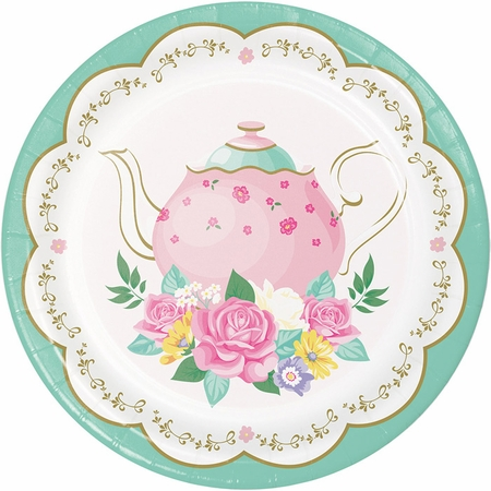 Floral Tea Party Dessert Plates 96 ct