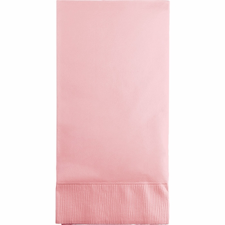 Touch of Color Classic Pink 3 Ply Guest Towels in quantities of 16 / pkg, 12 pkgs / case
