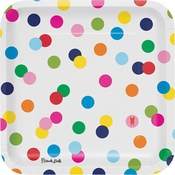 Birthday Dots by French Bull Square Dinner Plates 120 ct