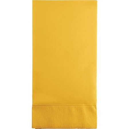 Touch of Color School Bus Yellow 3 Ply Guest Towels in quantities of 16 / pkg, 12 pkgs / case