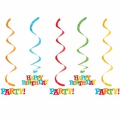 Happy Birthday Swirl Decorations 30 ct