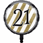 Black and Gold 21st Birthday Mylar Balloons 10 ct