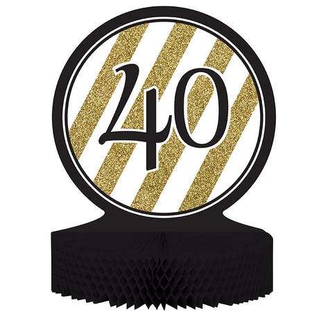 Black and Gold 40th Birthday Centerpieces 6 ct