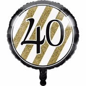 Black and Gold 40th Birthday Mylar Balloons 10 ct