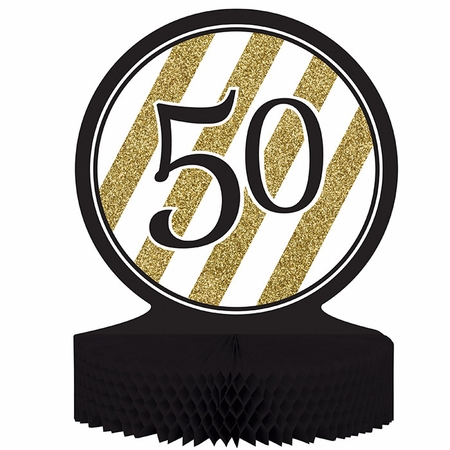 Black and Gold 50th Birthday Centerpieces 6 ct