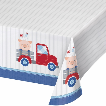 Farmhouse 1st Birthday Boy Plastic Tablecloths 6 ct