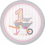 Farmhouse 1st Birthday Girl Dinner Plates 96 ct