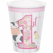 Farmhouse 1st Birthday Girl Cups 96 ct