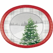 Winter Tree Oval Plates 96 ct
