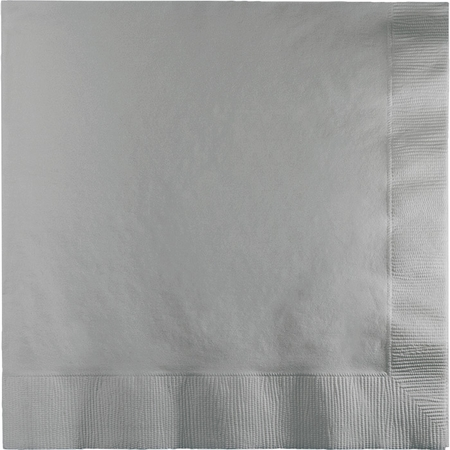 Touch of Color Shimmering Silver 2 Ply Luncheon Napkins in quantities of 50 / pkg, 12 pkgs / case