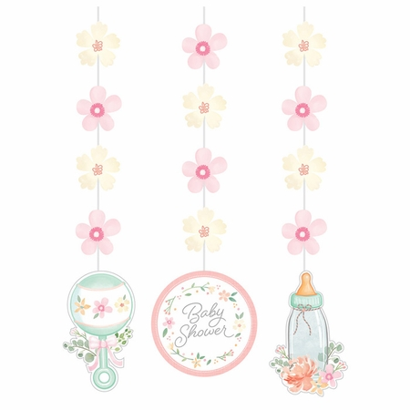 Country Floral Baby Shower Hanging Decorations 36 ct