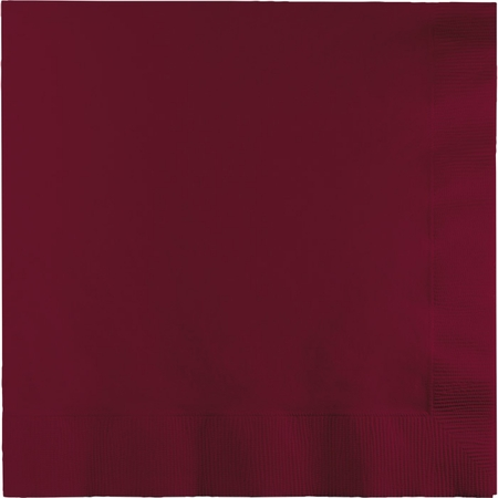 Touch of Color Burgundy 2 Ply Luncheon Napkins in quantities of 50 / pkg, 12 pkgs / case